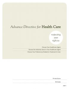 Advance Care Planning Document - Page 1